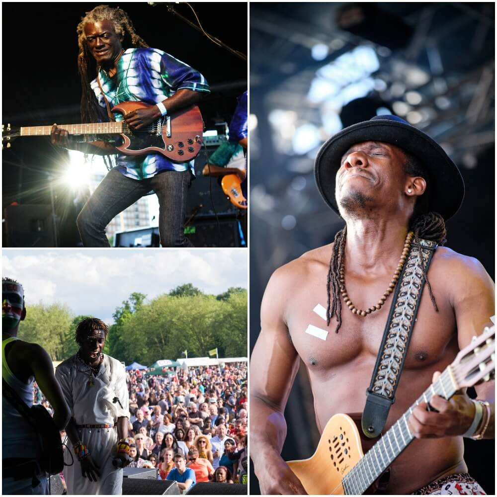 guitarists at Africa Oye festival on stage