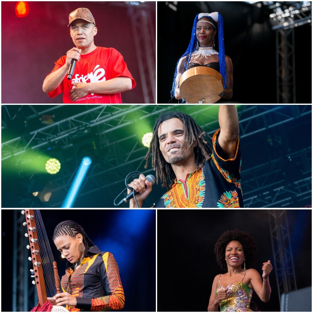 Collection of musician's performing at Africa Oye festival on stage