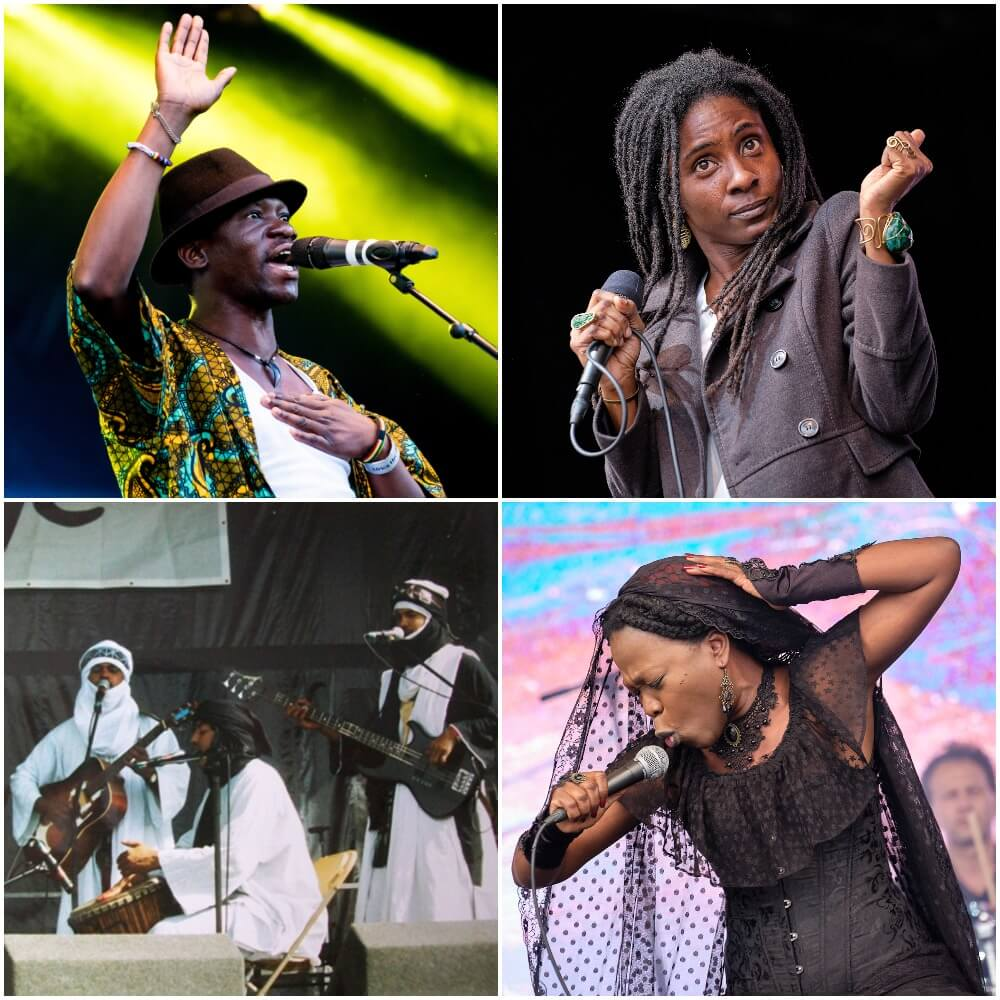 collection of photos singers on stage at Africa Oye