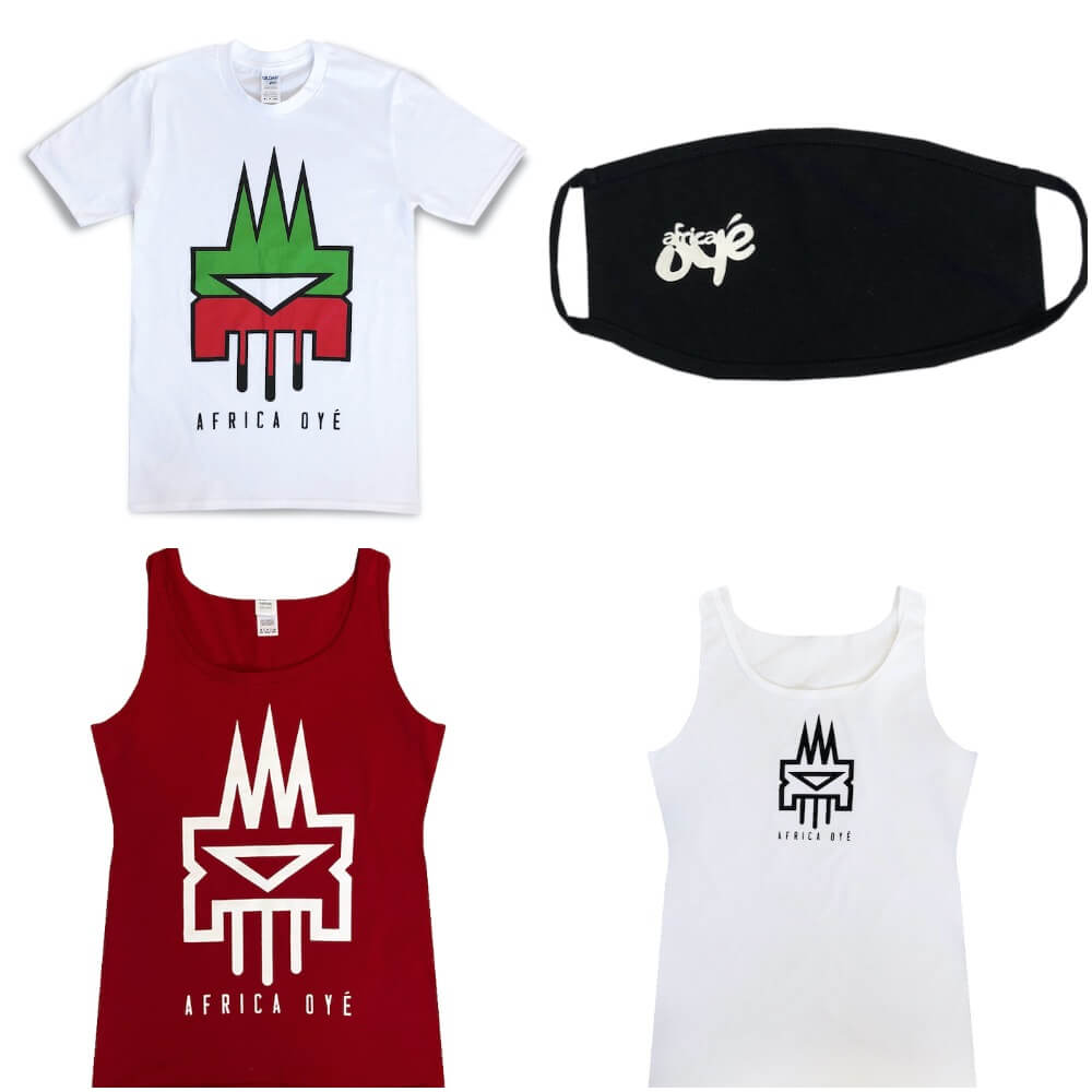 Four items of Africa Oyé merch. There are two vests, one white and one red, a black face mask and a white t-shirt. All items have the Africa Oyé logo on them.