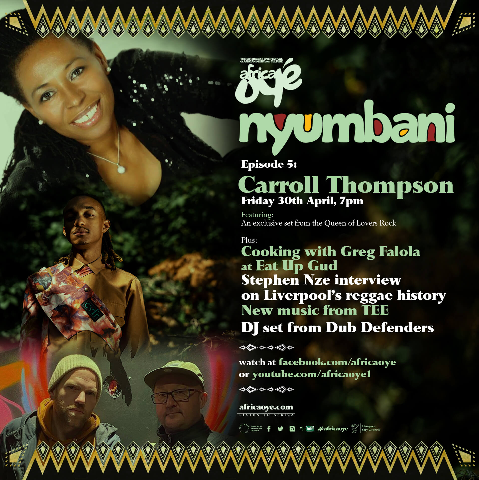 The poster for Episode of 5 of Nyumbani. Photos of Carroll Thompson, TEE and Dub Defenders.