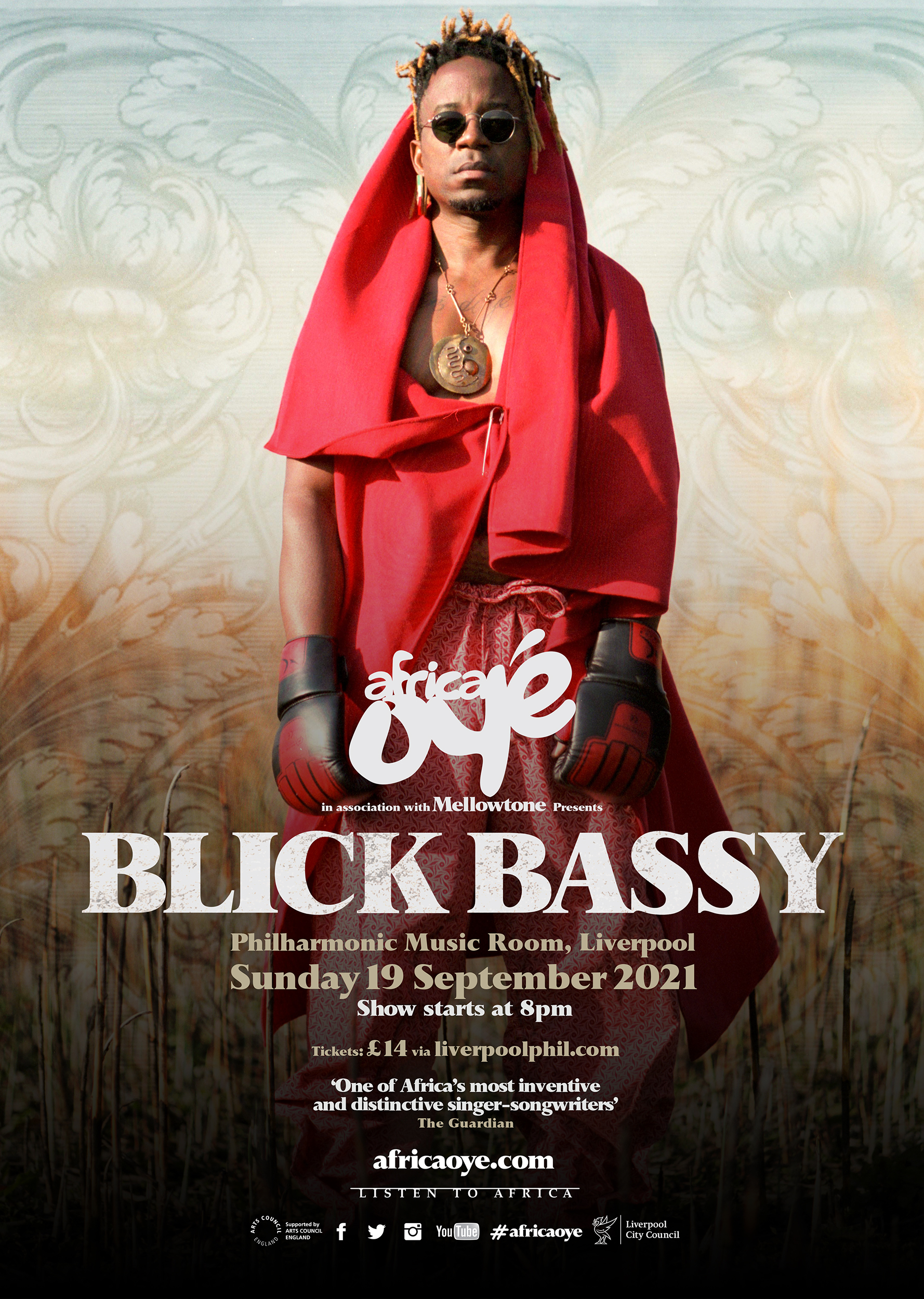 Africa Oyé in association with Mellowtone present...Blick Bassy. Liverpool Philharmonic Music Room Sunday 19th September 2021, 8pm. Tickets from £14. one of Africa's most inventive and distinctive singer-songwriters - The Guardian.